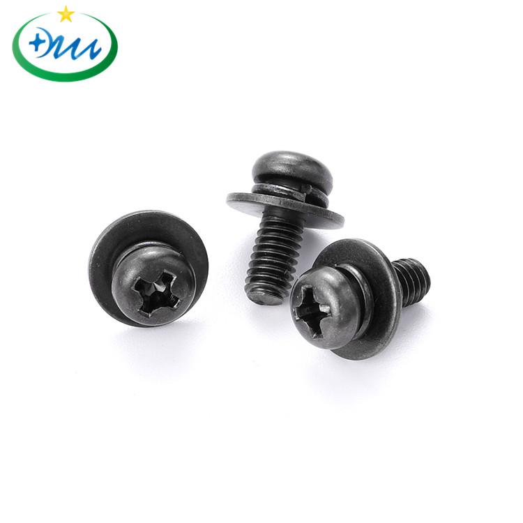 盘头十字碳钢黑锌弹平垫组合螺丝 1